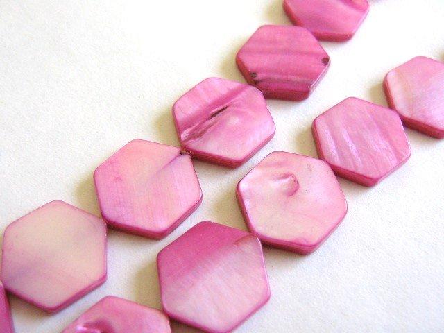 Pink 15mm Hexagon Shell Beads