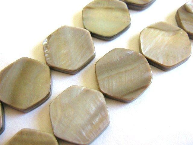 Brown 16x18mm Hexagon Shell Beads