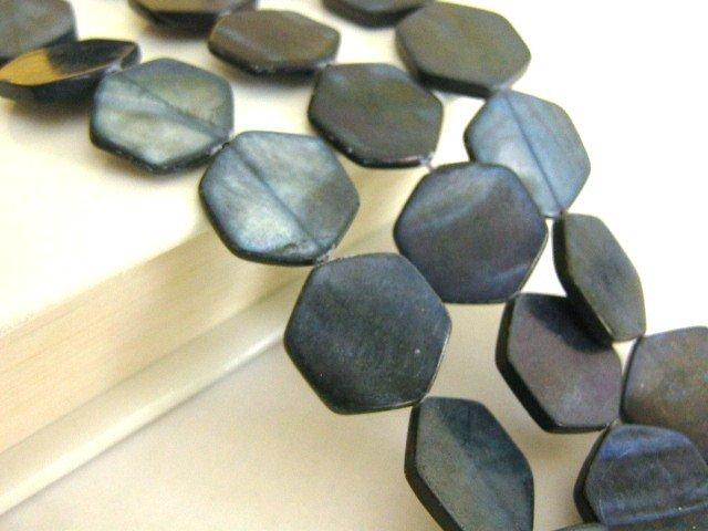 Black Hexagon 18mm Shell Beads