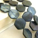 Black Hexagon 18mm Shell Beads