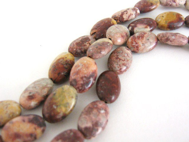 Red Leopardskin Jasper Beads Flat 8x12mm Oval Gemstone