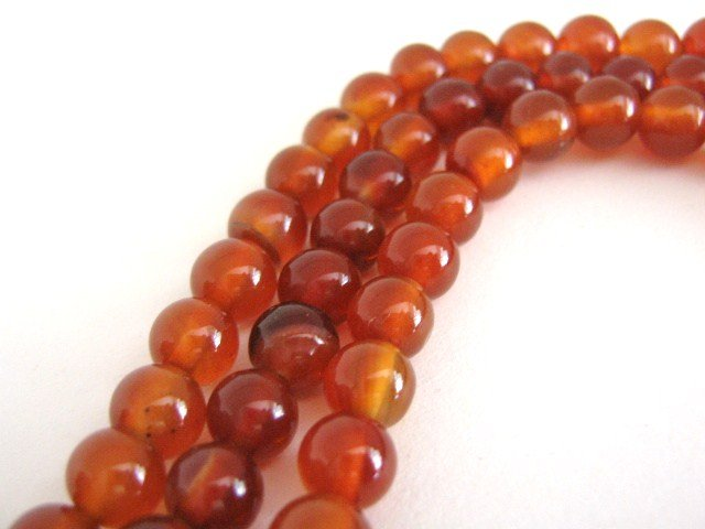 Carnelian Gemstone Beads 6mm Round Burnt Orange
