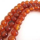 Carnelian Gemstone Beads 8mm Round Burnt Orange Stone