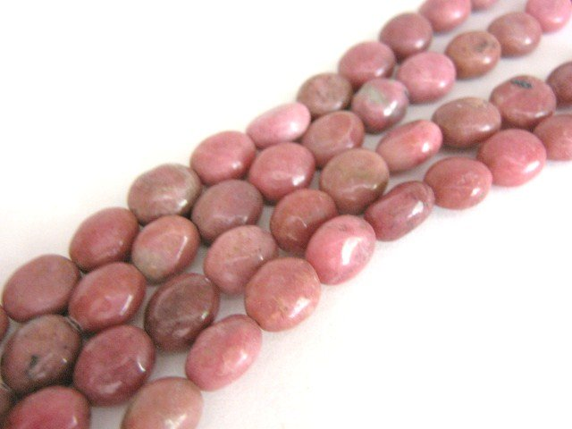 Gemstone Rhodonite Beads Flat 10x8mm Oval Pink