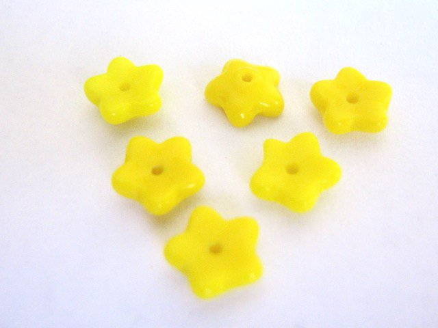 Yellow Opaque 8mm Flower Czech Glass Beads