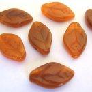 Hyacinth Carmel 8x12mm Leaves Orange Czech Glass Beads
