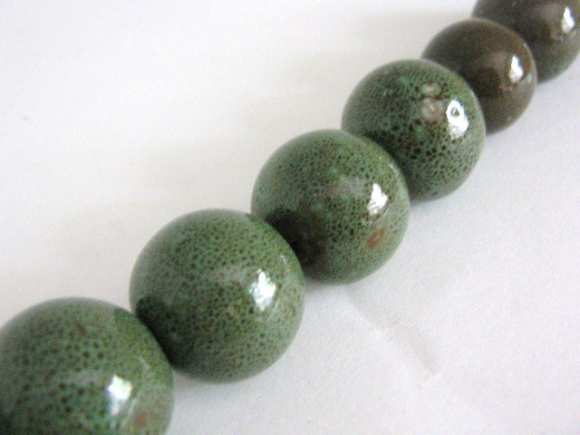 Honey Green 22mm Round Porcelain Beads