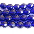 Cobalt Blue Czech Fire Polished Glass Beads 10mm Faceted Round