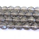 Smoke Gray Czech Fire Polished Glass Beads 10mm Faceted Round