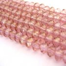 Pink Lumi Rose Czech Glass Beads 5x3mm Puffy Rondelle