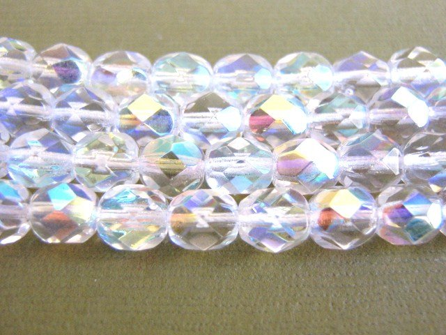 Clear Crystal AB 6mm Faceted Round Czech Glass Beads