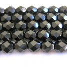 Jet Black Czech Glass Beads 6mm Faceted Round