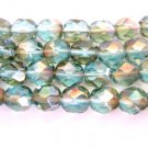 Lite Aqua Celsian Czech Glass Beads 6mm Faceted Round