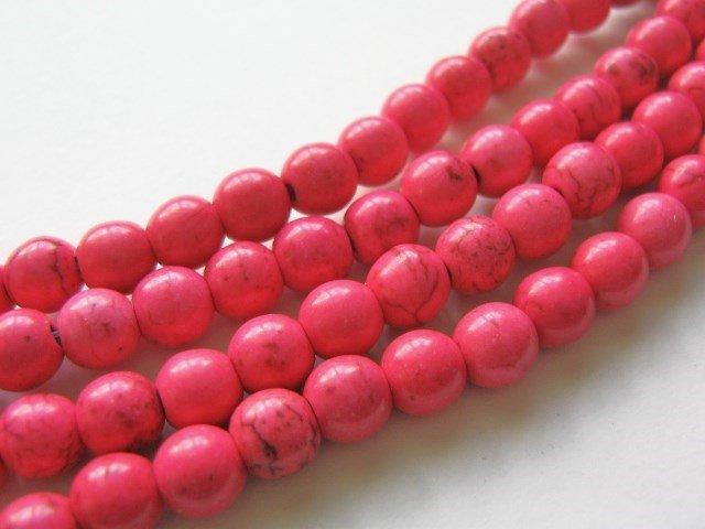 7mm Round Pink Howlite Gemstone Beads