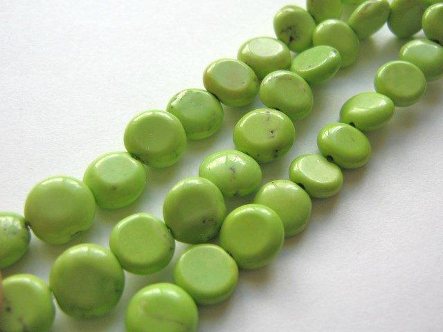 10mm Coin Green Howlite Gemstone Beads Flat Round Imitation Turquoise