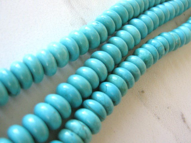 Blue 9mm Rondelle Turquoise Howlite Gemstone Beads Spacer