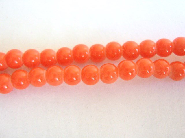 Salmon Opaque Orange Glass Beads 4mm Round