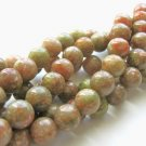 Autumn Jasper Beads 9mm Round Green Salmon Gemstone Beads