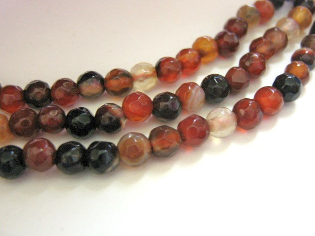 Red Black Agate 4.5mm Faceted Round Gemstone Beads