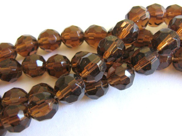 Transparent Brown 10mm Faceted Round Glass Beads