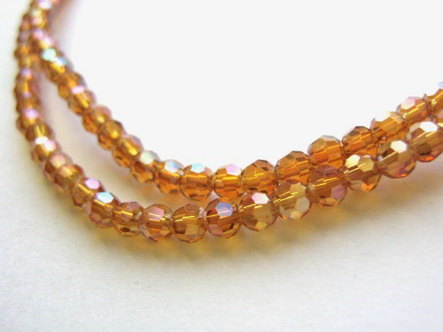 Orange AB 3mm Faceted Round Crystal Glass Beads