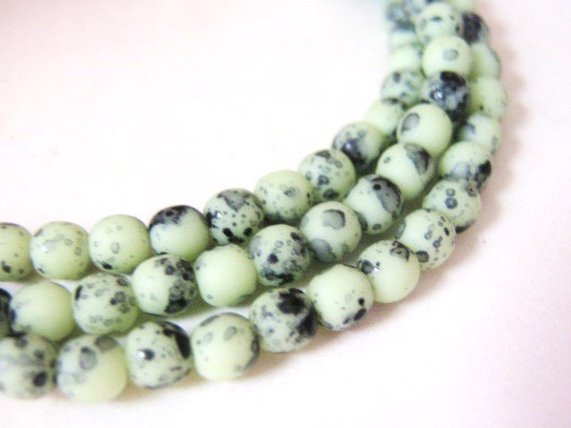 4mm Round Tea Green Birds Egg Czech Glass Beads