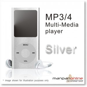 "MP3 MP4 Portable Multi Media Player 1.8"" LCD w/ 2GB silver"