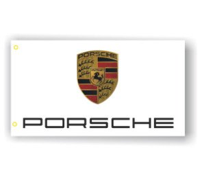Porsche 3D Logo White BANNER  Flag