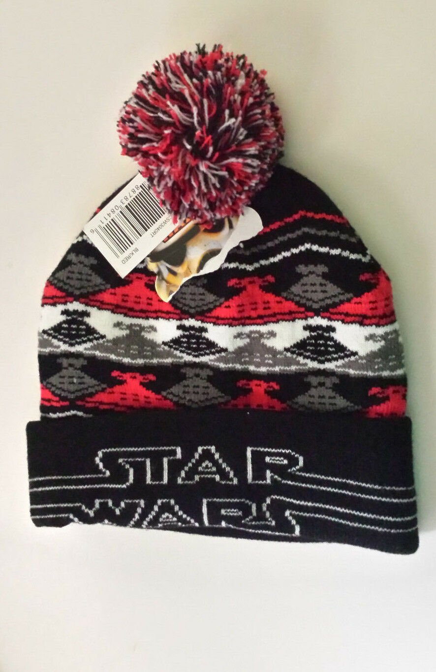 f18da5580 Star Wars Winter Pom Pom Beanie Hat Cap Star Destroyer Ship Design Black  Red NWT