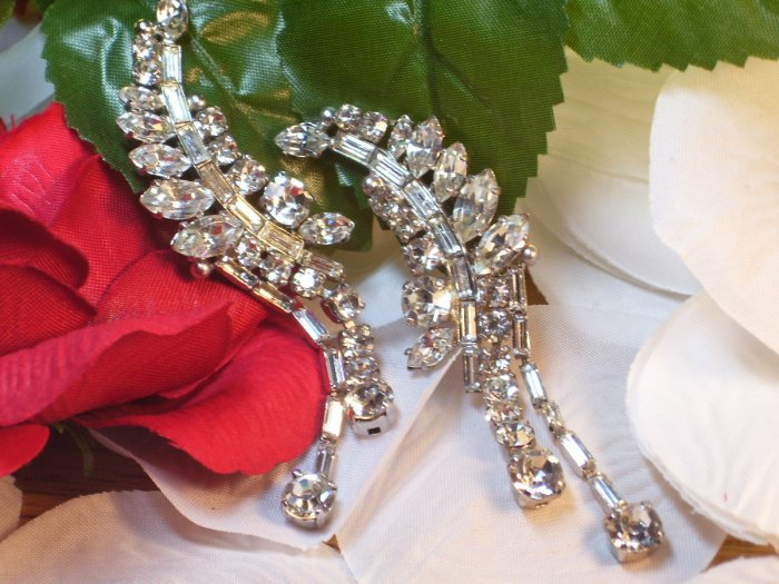 Eisenberg Clear Rhinestone Earrings