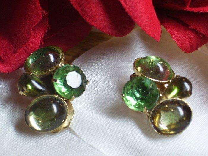 Green Poured Glass Earrings