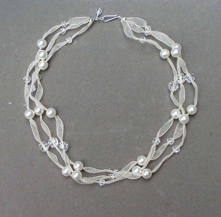 Swarovski Pearl & Crystal Multi Strand Ribbon Necklace
