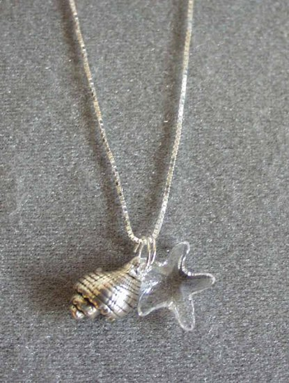 Shell Pendant with Swarovski Crystal Starfish