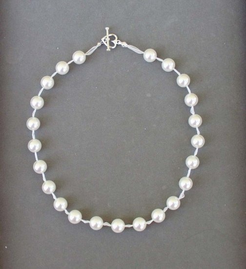 Swarovski White Pearl Ribbon Necklace with Sterling Silver Heart Clasp