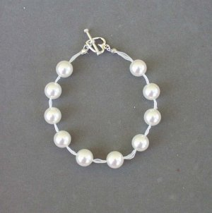 Swarovski Crystal White Pearl Ribbon Bracelet with Sterling Silver Heart Clasp