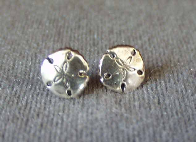Sterling Silver Sand Dollar Stud Post Earrings