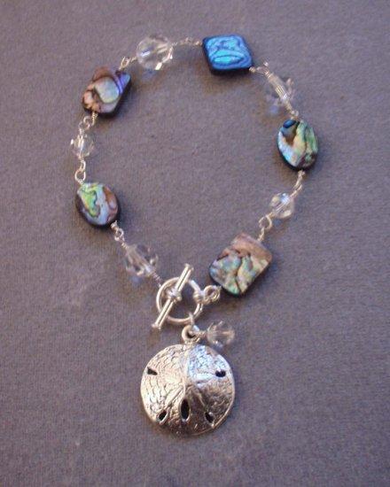 Abalone, Swarovski Crystal Wire Wrapped Bracelet with Sand Dollar Charm