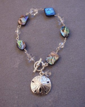 Abalone, Swarovski Crystal Wire Wrapped Bracelet with Sand Dollar Charm