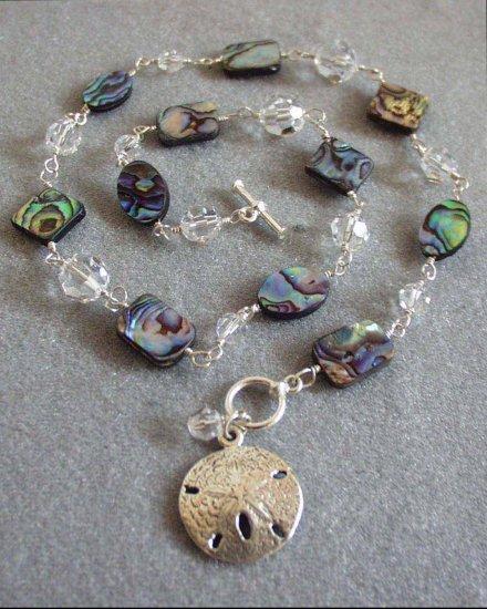 Abalone, Swarovski Crystal Wire Wrapped Necklace with Sand Dollar Charm