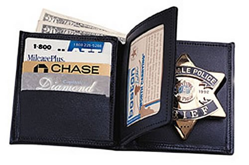 Boston Leather 175 Book Style Badge Wallet with 3 Credit Card Slots