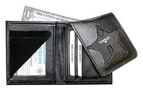 Boston Leather 575 Book Style Badge Wallet with Flip-Out Badge Flap