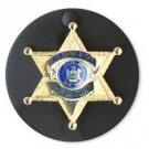 Boston Leather Round Clip-On Badge Holder with Snap Closure