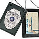 Boston Leather Model 400 Neck Chain Badge and ID Holder with Badge Cutout