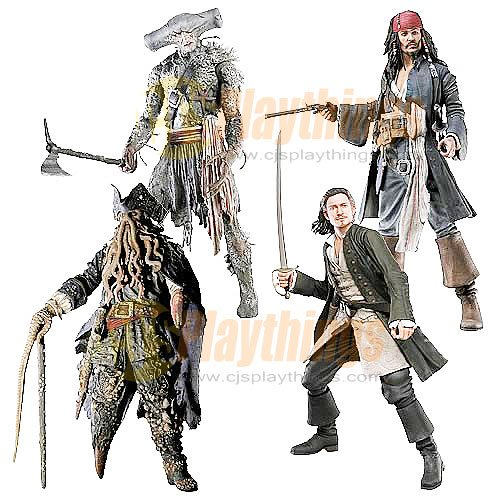 NECA PIRATES OF CARIBBEAN Dead Man's Chest set of 4 w/ JACK SPARROW WILL TURNER Davy Jones Maccus