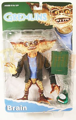 NECA GREMLINS Action Figure BRAIN w/ flask, book, glasses