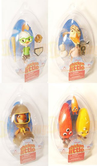 Disney Action Figure Chicken Little set of 4 w/ Chicken Little Abby Fish Aliens