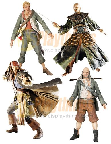 PIRATES OF CARIBBEAN At World's End Series 1 Set of 4 w/ Jack Sparrow Sao Feng Pintel Ragetti