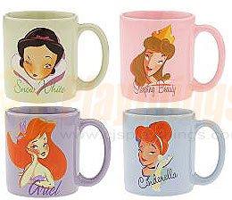 Disney Exclusive Princess Phases MUG SET of 4 w/ Snow White Sleeping Beauty Cinderella Ariel