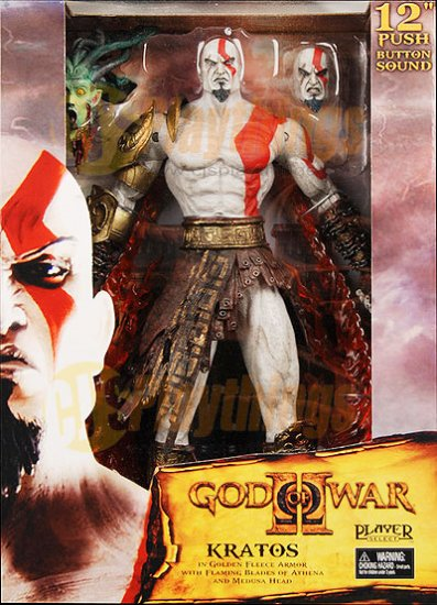 "NECA Player Select God of War 2 12"" Kratos Talking w/Medusa Head"