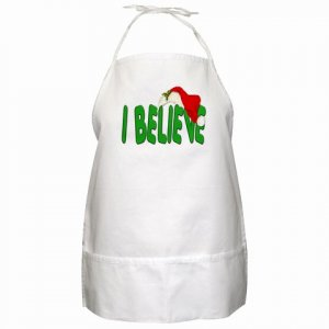 I Believe  Christmas Holiday BBQ Kitchen Apron with Pockets - 21896763